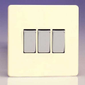 Varilight 3 Gang 1 or 2 Way 10A Rocker Light Switch Screwless Chocolate White XDW3S